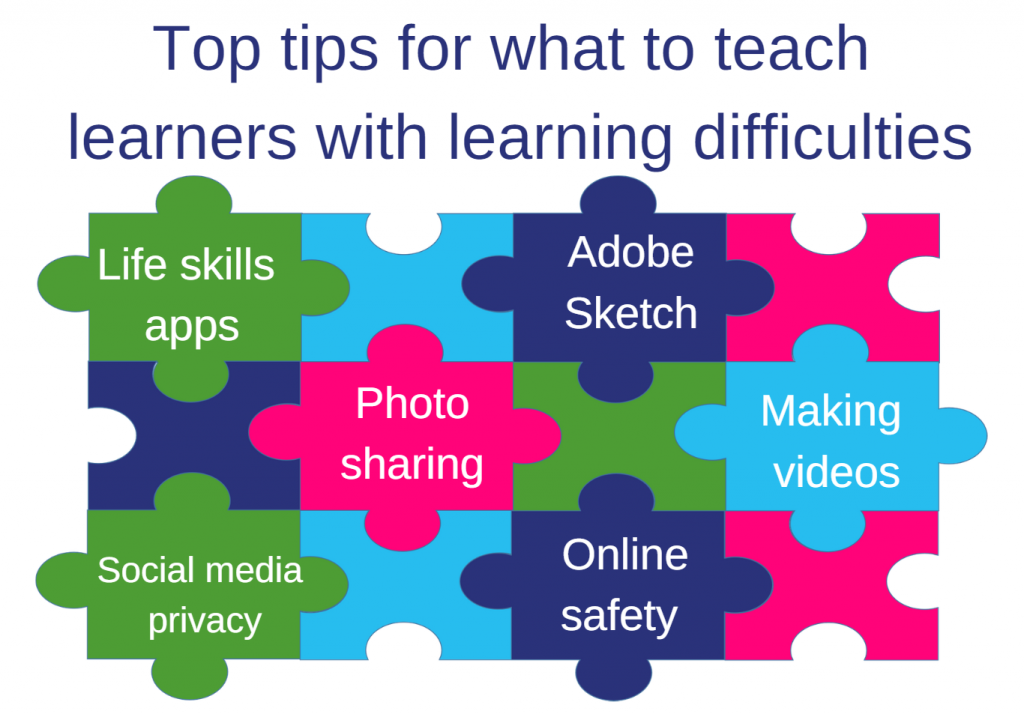 Jigsaw graphic with top tips of what to teach learners with learning disabilities: Life skills app; Adobe Sketch; Photo sharing; making videos; social media privacy; online safety.