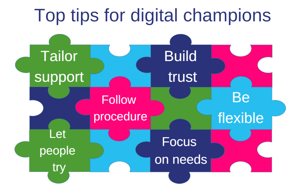 Image : Jigsaw graphic with top tips for DCs : tailor support; build trust; follow procedure; be flexible; let people try; focus on needs