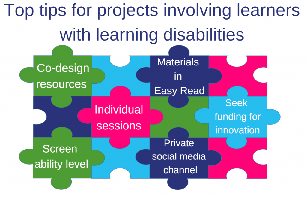 Jigsaw graphic of top tips for projects: Co-design resources; materials in Easy Read format; individual sessions; seek funding for innovation; screen ability level; private social media channel.