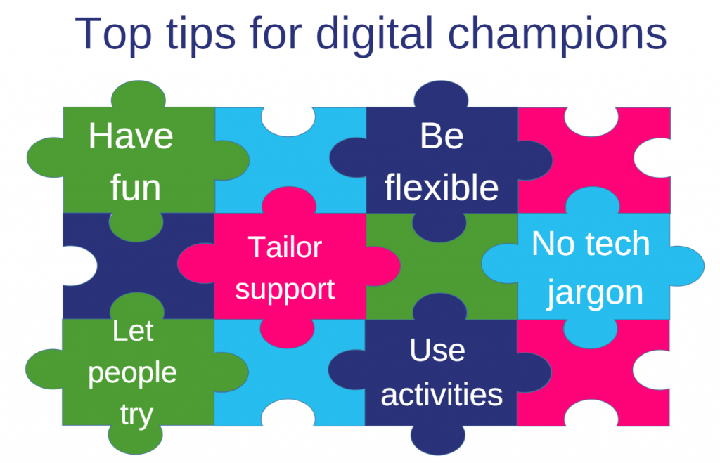 Jigsaw graphic with top tips for DCs : have fun; be flexible; tailor support; no tech jargon; let people try; use activities.