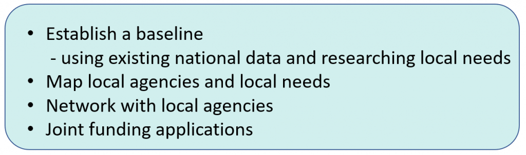 Establish a baseline using existing national data and researching local needs + Map local agencies and local needs + Network with local agencies + Joint funding applications.