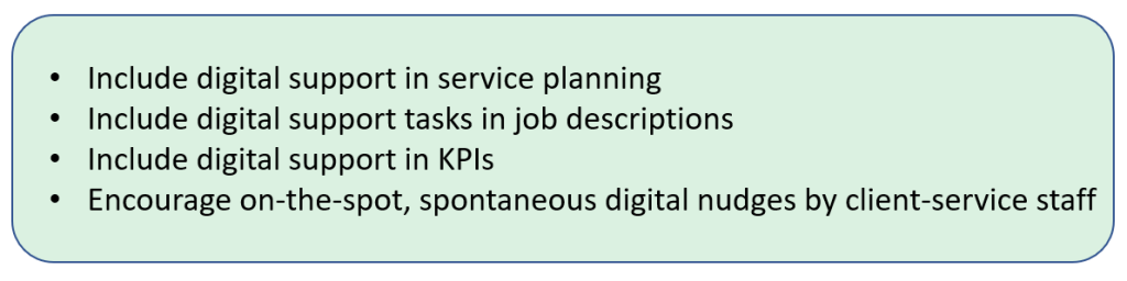 Include digital support in service planning + Include digital support tasks in job descriptions + Include digital support in KPIs + Encourage on-the-spot, spontaneous digital nudges by client service staff.