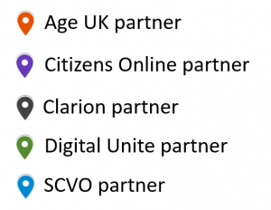Orange = Age UK partner; Purple = Citizens Online partner; black = Clarion partner; green = Digital Unite partner; blue = SCVO partner
