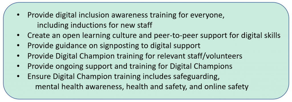 Provide digital inclusion awareness training for everyone, including inductions for new staff + Create an open learning culture and peer-to-peer support for digital skills + Provide guidance on signposting to digital support + Provide Digital Champion training for relevant staff/volunteers + Provide ongoing support and training for Digital Champions + Ensure Digital Champion training includes safeguarding, mental health awareness, health and safety, and online safety.