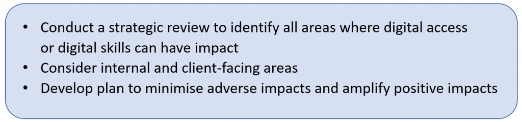 Conduct a strategic review to identify all areas where digital access or digital skills can have impact + Consider internal and client-facing areas + Develop plan to minimise adverse impacts and amplify positive impacts.