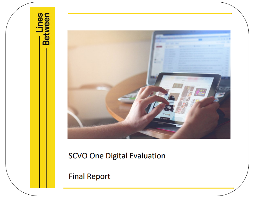 Photo of a person's hands using a tablet, with laptop in background. SCVO One Digital Evaluation Final Report.