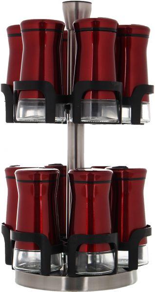 طقم برطمانات توابل زجاج بغطاء ستانلس ستيل 12 قطعة – احمر