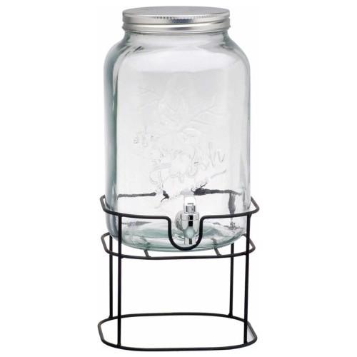بامبوم جولهان - موزع زجاج 8 لتر للماء اللون الأبيض يمكن وضع جميع انواع الشراب مع الثلج يحافظ على البرودة لفترة طويلة