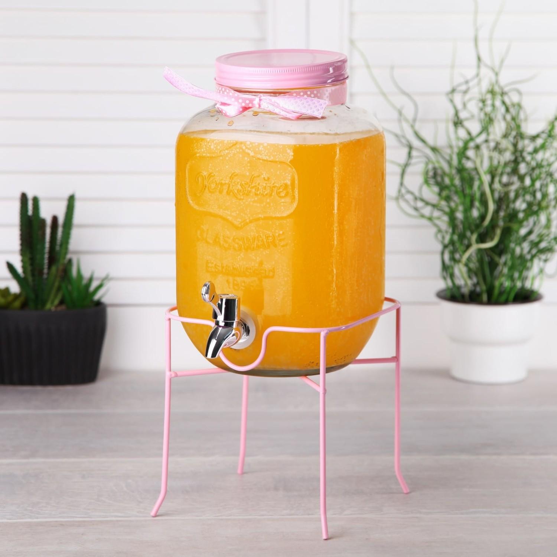 بروتي كلاس مبرد مياه ليمونيد مع غطاء 4 لتر اللون  وردي
