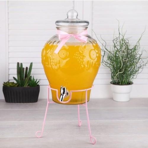 كاربوي موزع زجاج ،  ، شربات 6 لتر بيروتي يحافظ على  المشروبات  فترة طويلة ويمكن اضافة الثلج اللون الوردي