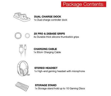 مجموعة DOBE PS4 GAME خمسة قطع في واحد سماعة ستيريو وشاحن ثنائي وستاند ووصلة شاحن