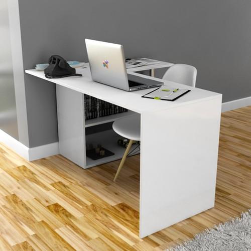 طاولة مكتبية على شكل حرف  ال للكتب والكمبيوتر