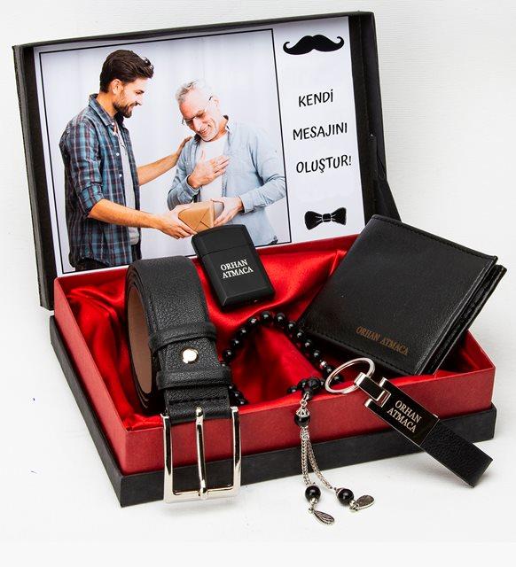 هدية الوالد  المحفظة ولاعة مفتاح سلسلة الوردية وحزام مجموعة