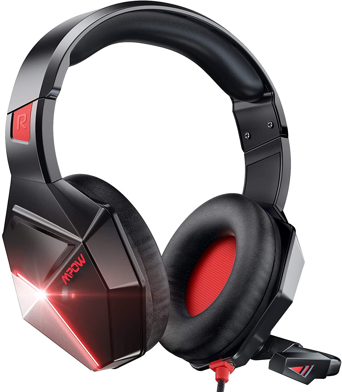 امباو-EG10 سماعة الألعاب السلكية لأجهزة PS5 و PS4 و PC و Xbox One - أسود + احمر
