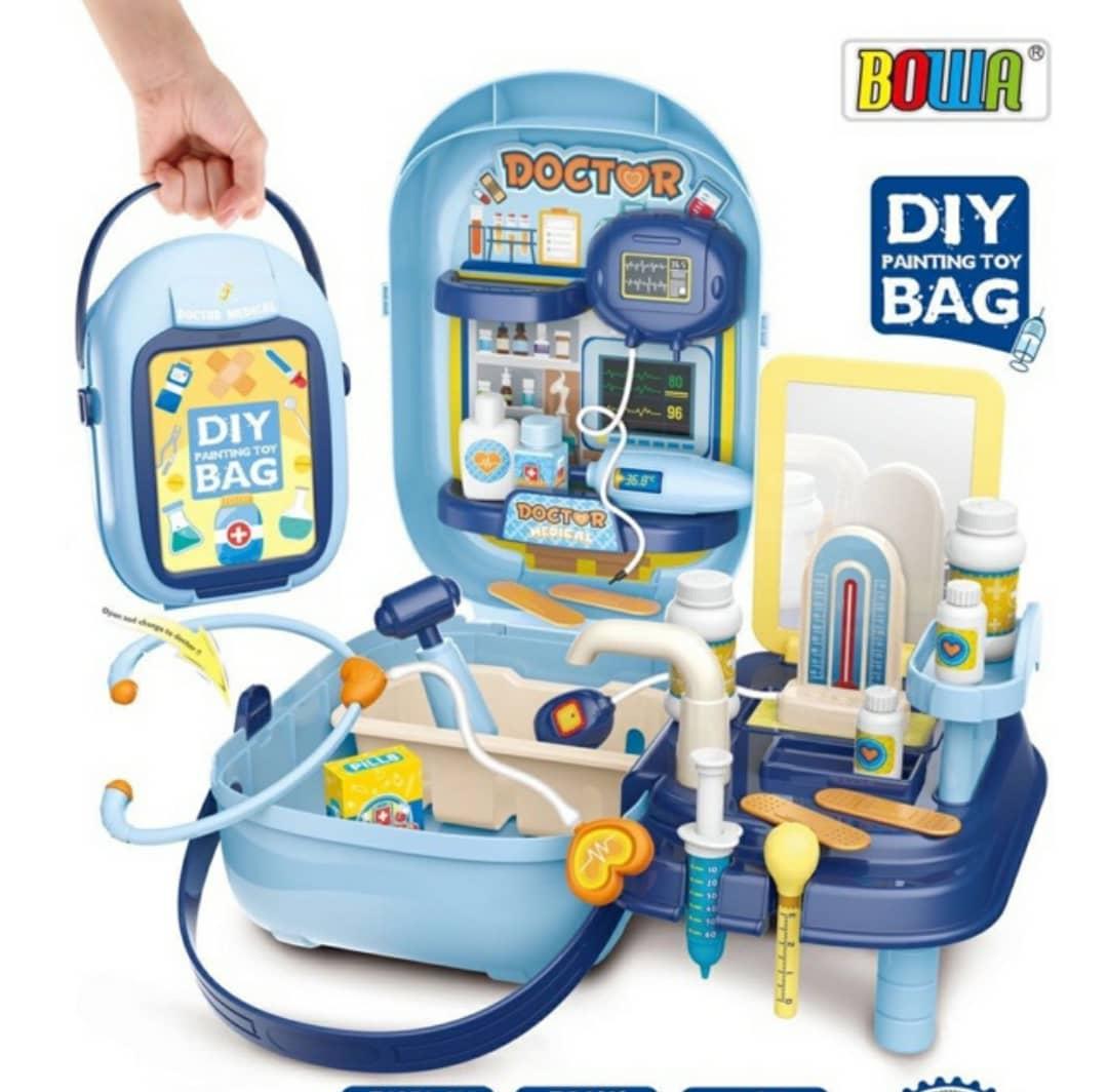 حقيبة لعبة الطلاء DIY - مجموعة ألعاب الطبيب مع حقيبة حمل