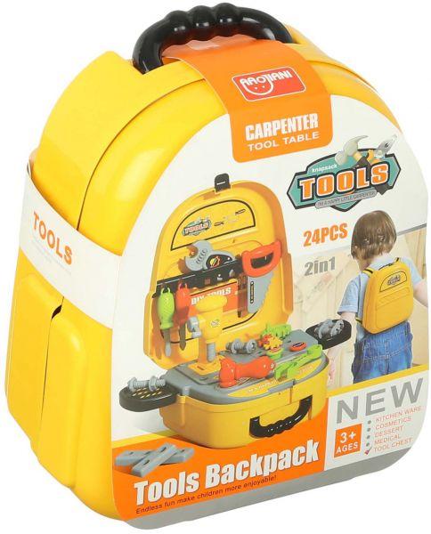 شنطة ظهر مع ادوات تصليح 2 في 1 للاطفال من اوجياني، 24 قطعة - اصفر