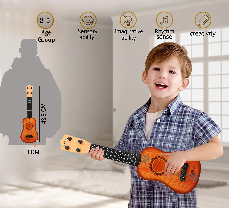 ألعاب جيتار ويسكي للأطفال تعمل بكامل طاقتها مع لعبة Pick by Whiskey ذات 4 أوتار ، لعبة جيتار كلاسيكي بني اللون ، جيتار صوتي موسيقي مع مقبض ضبط قابل للتعديل (17 بوصة)
