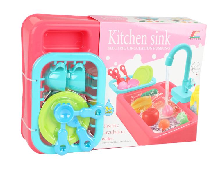 اغسل حوض المطبخ بالمياه المتداولة