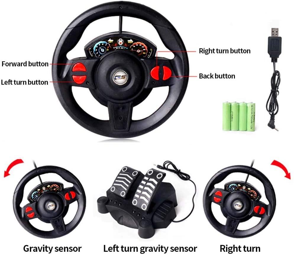 لعبة سيارة للأطفال تعمل بالتحكم عن بعد ، عجلة قيادة لقياس الجاذبية بالإضافة إلى دواسة القدم التحكم عن بعد سيارة رياضية عالية السرعة RC على الطرق الوعرة لعبة سيارة للبالغين.