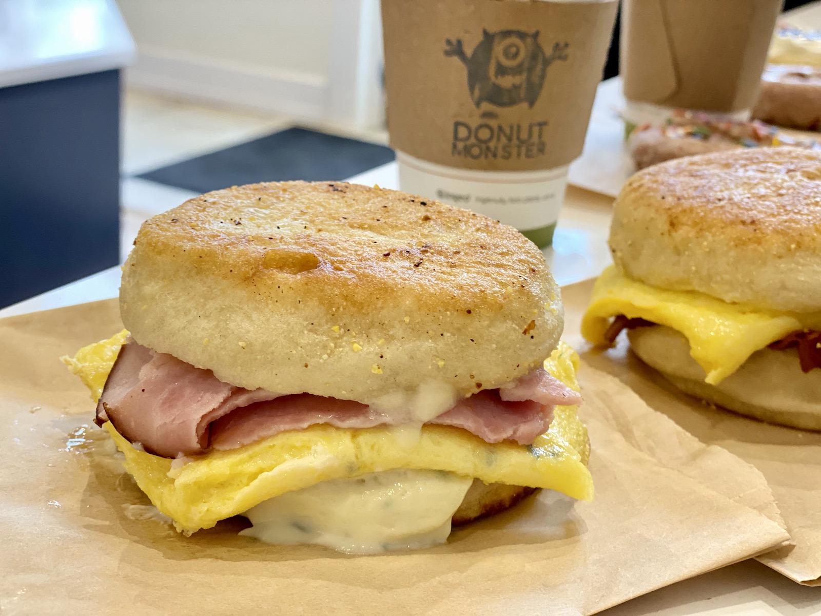 Donut Monster breakfast sandwich