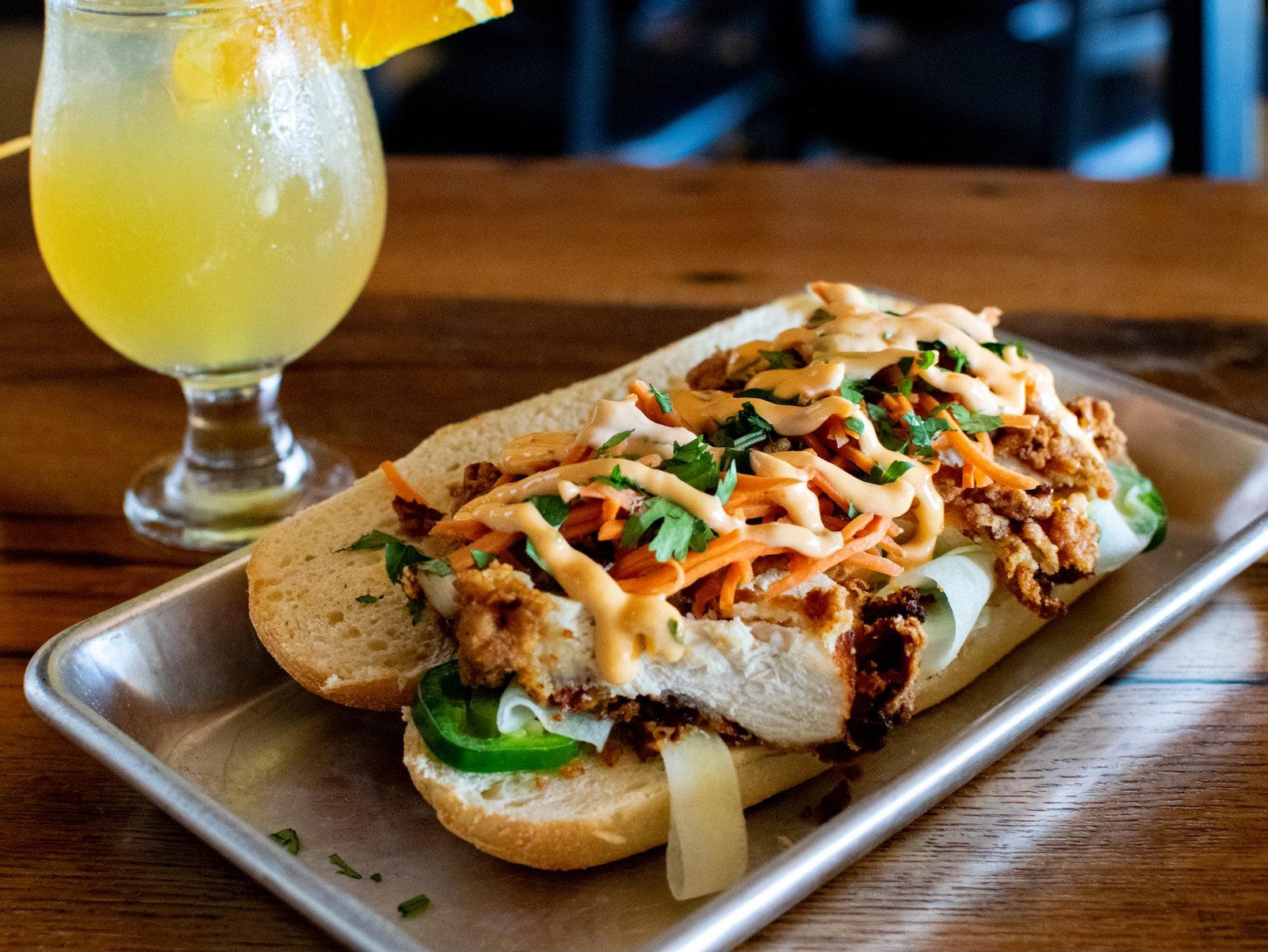 Fried chicken banh mi at Crafty Cow Tosa