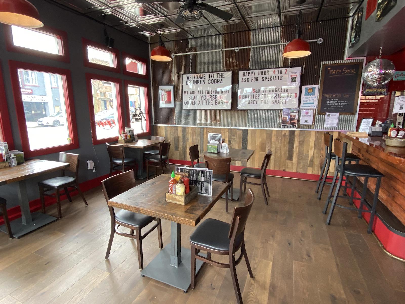 Dining area at Drunken Cobra