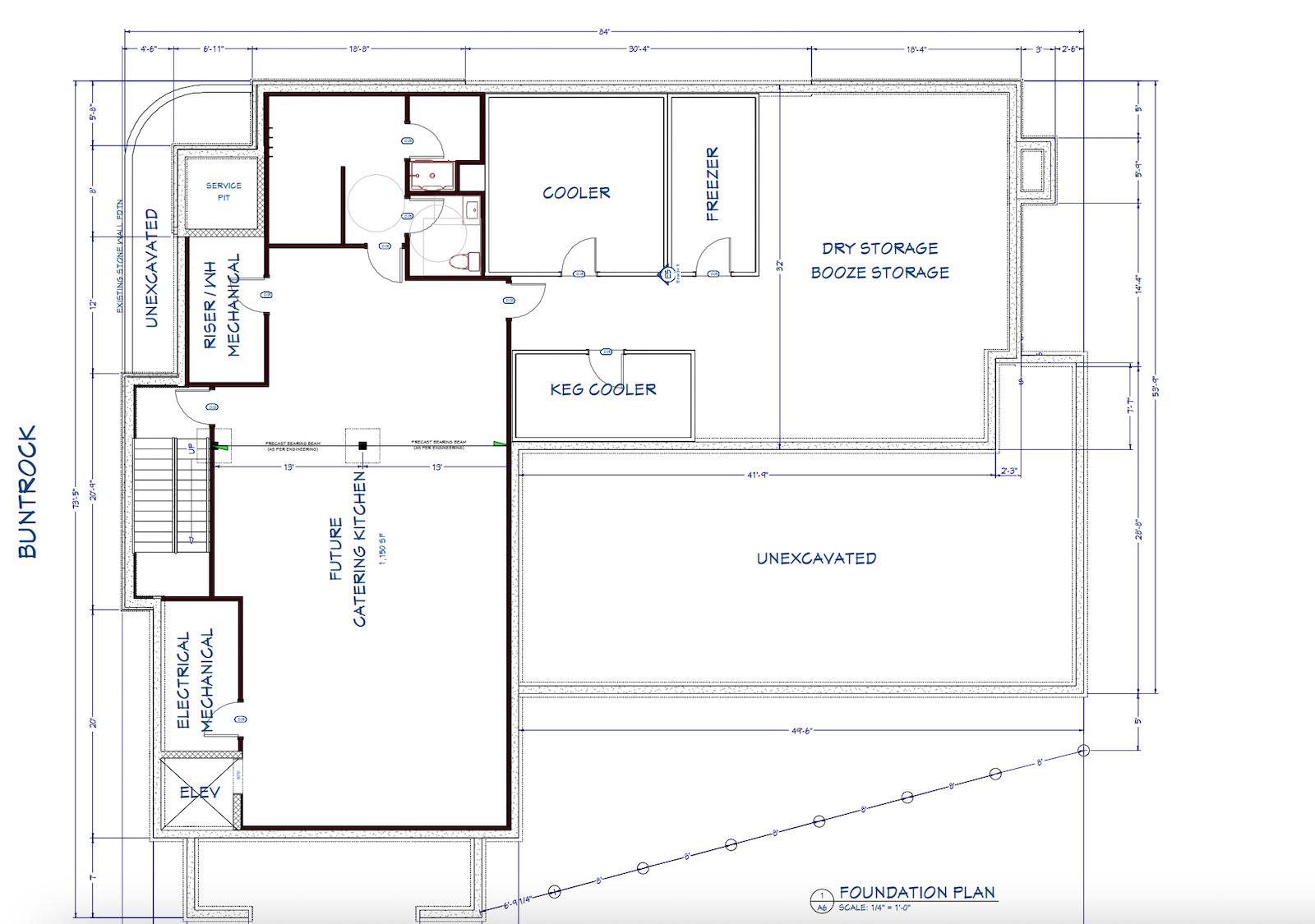 Commercial kitchen drawn plan