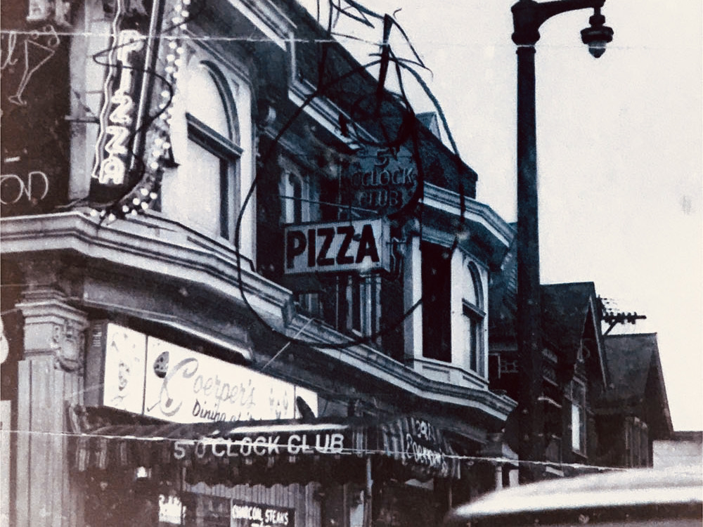Pizza sign on Coerper's Five O'Clock Club, c.1963