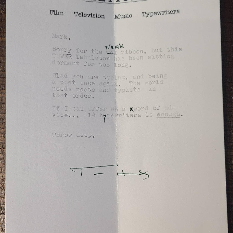 tom hanks typed letter