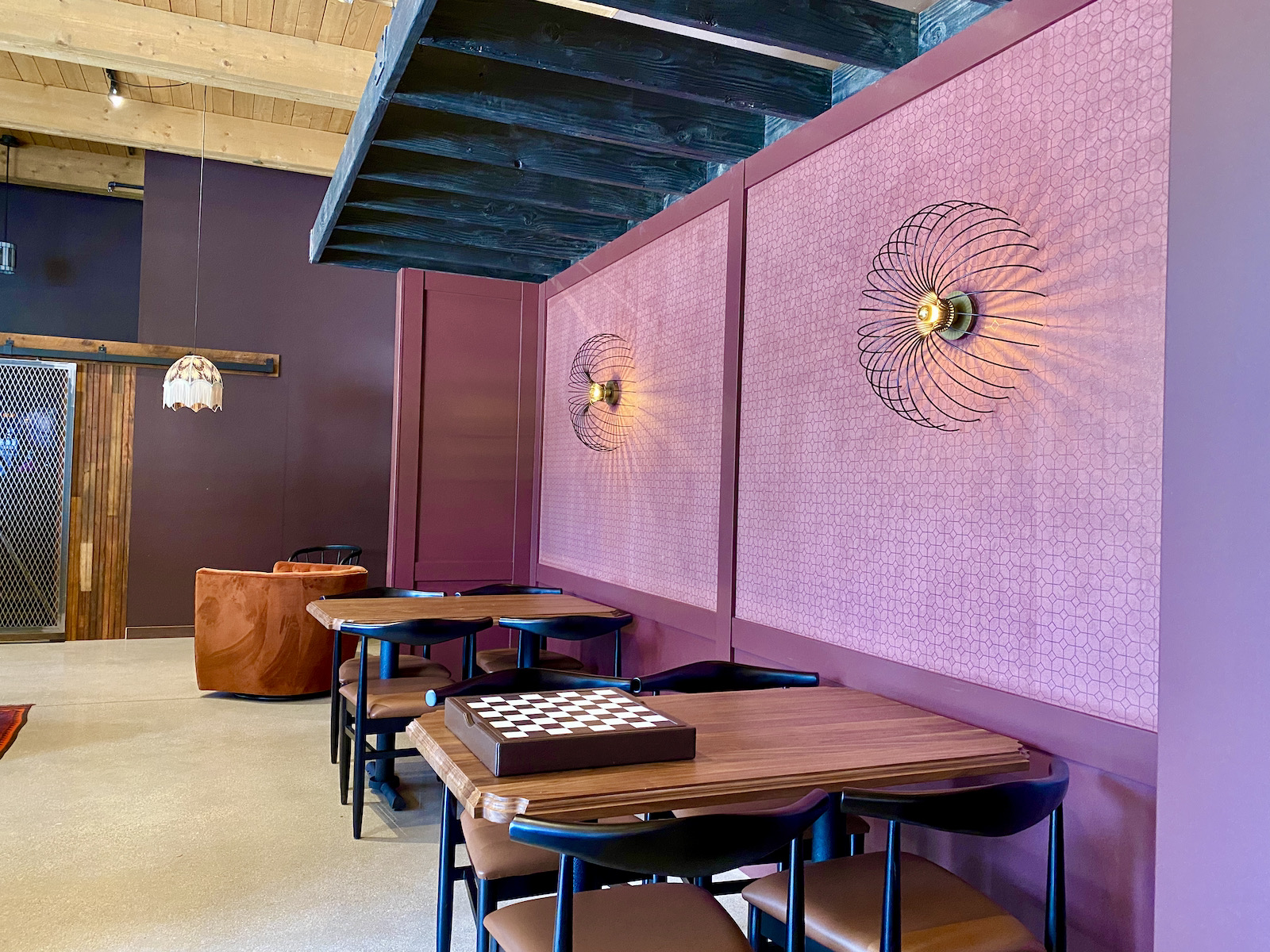 Seating area with purple accents