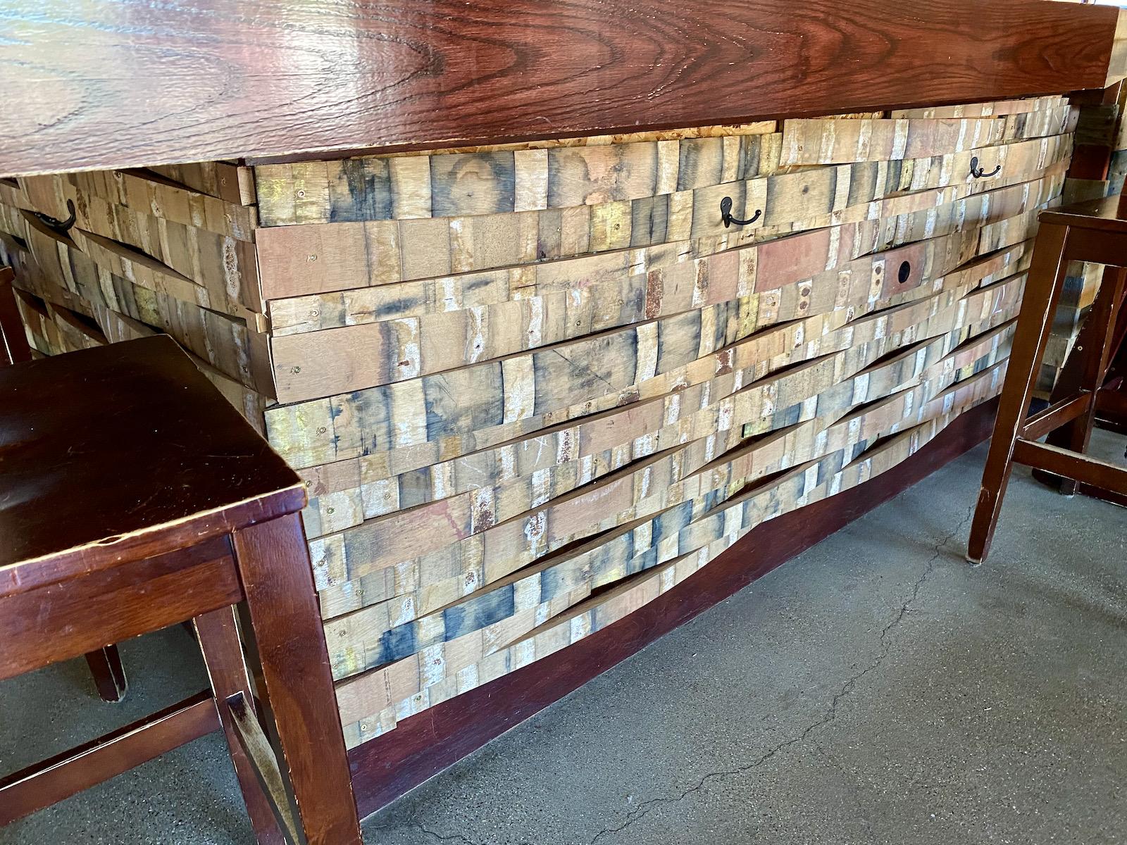 Wine stave bar facade