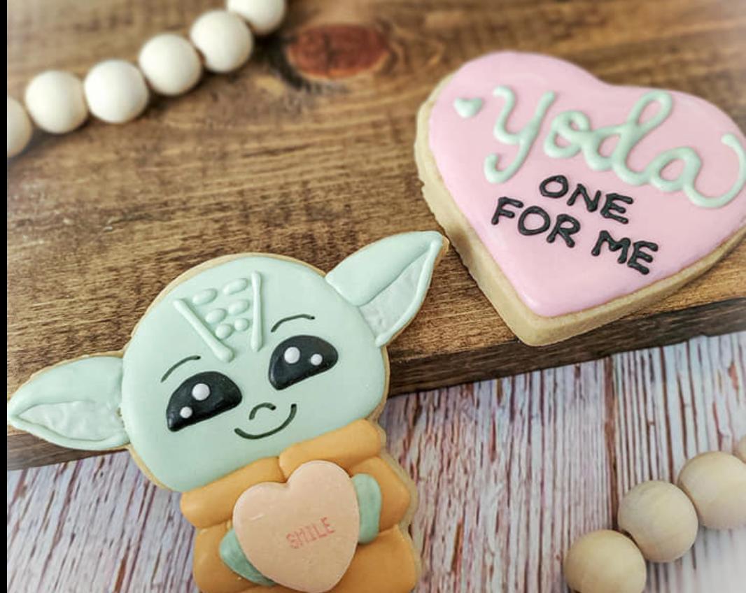 yoda valentines cookies