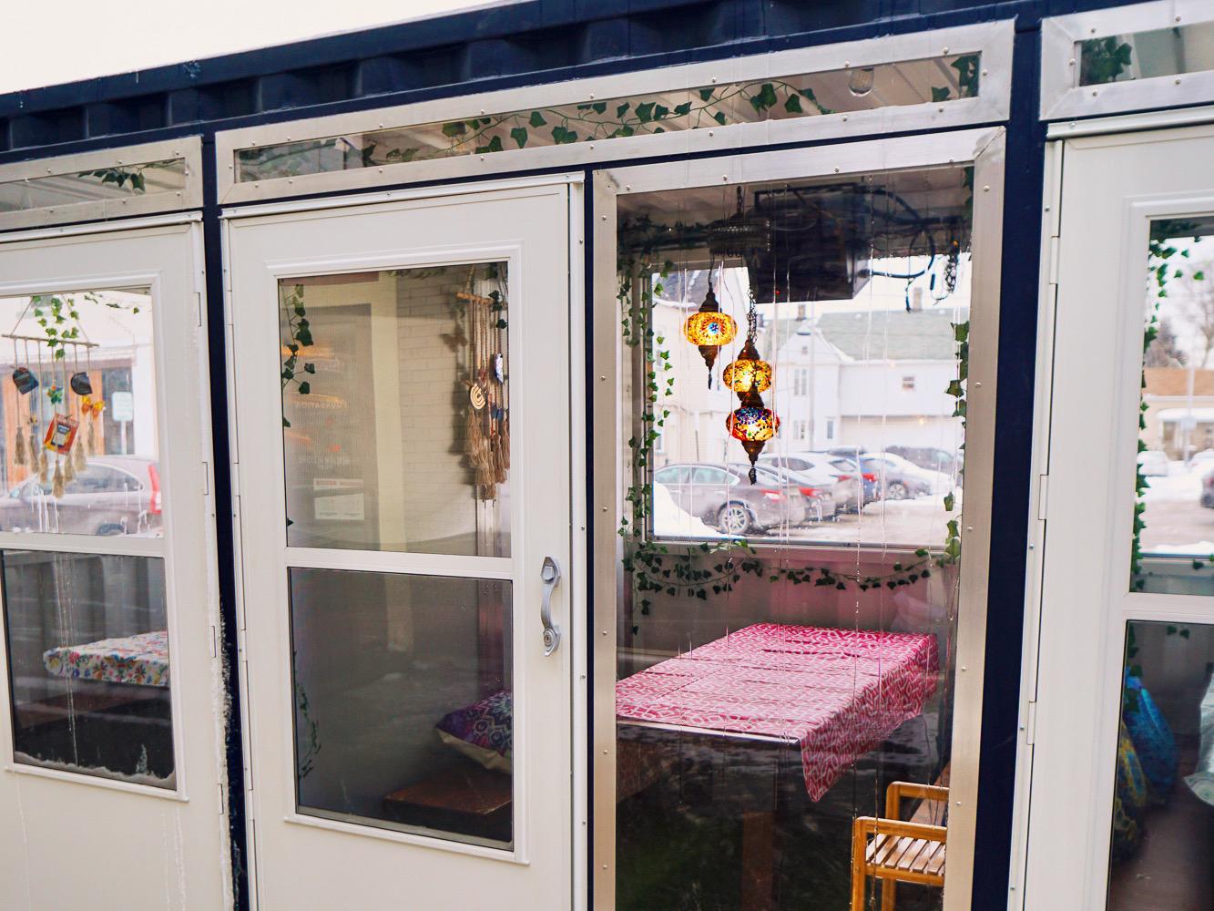 Peek through the door on the dining car