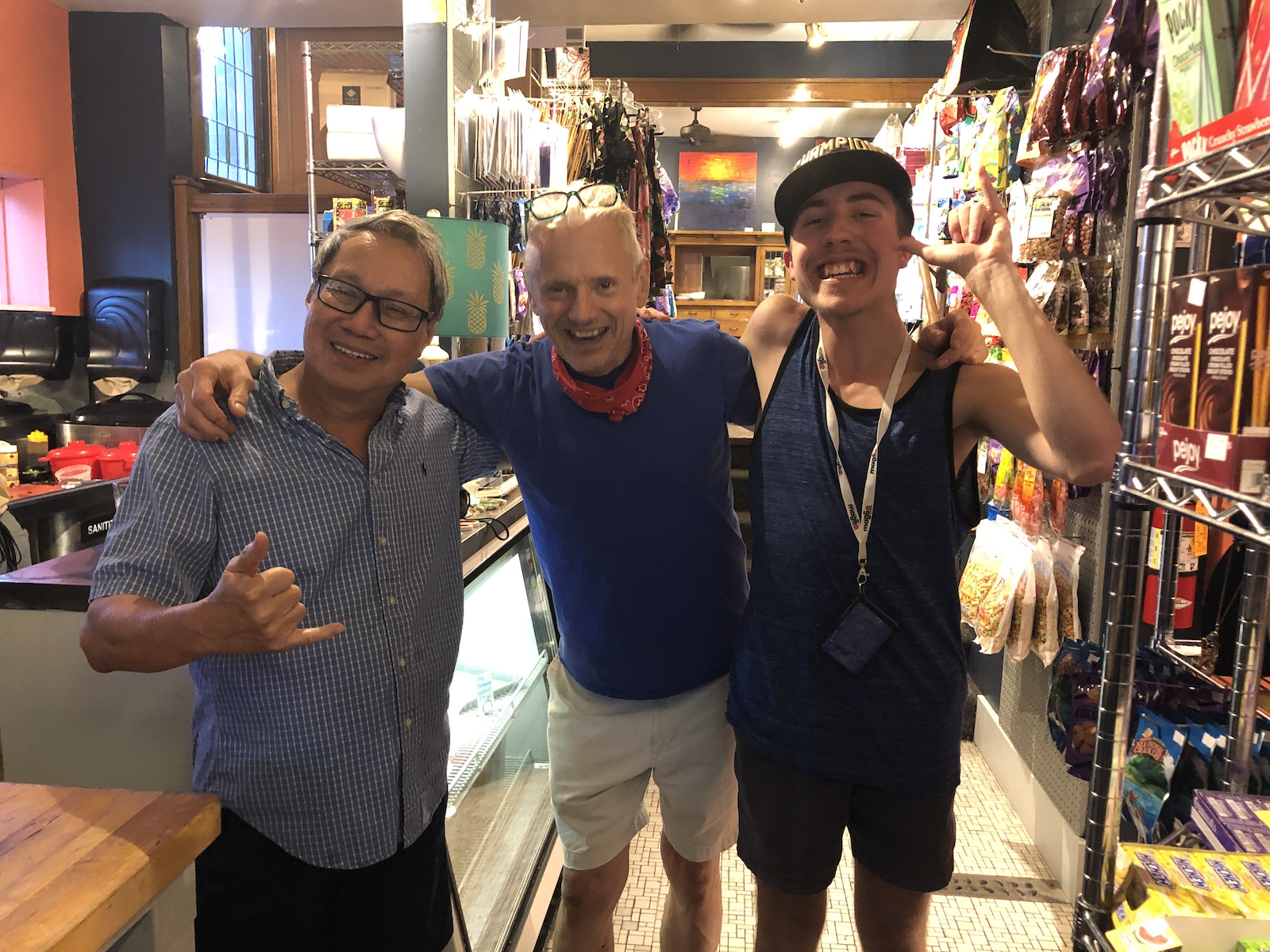Dominic with owners of Ono Kine Grindz