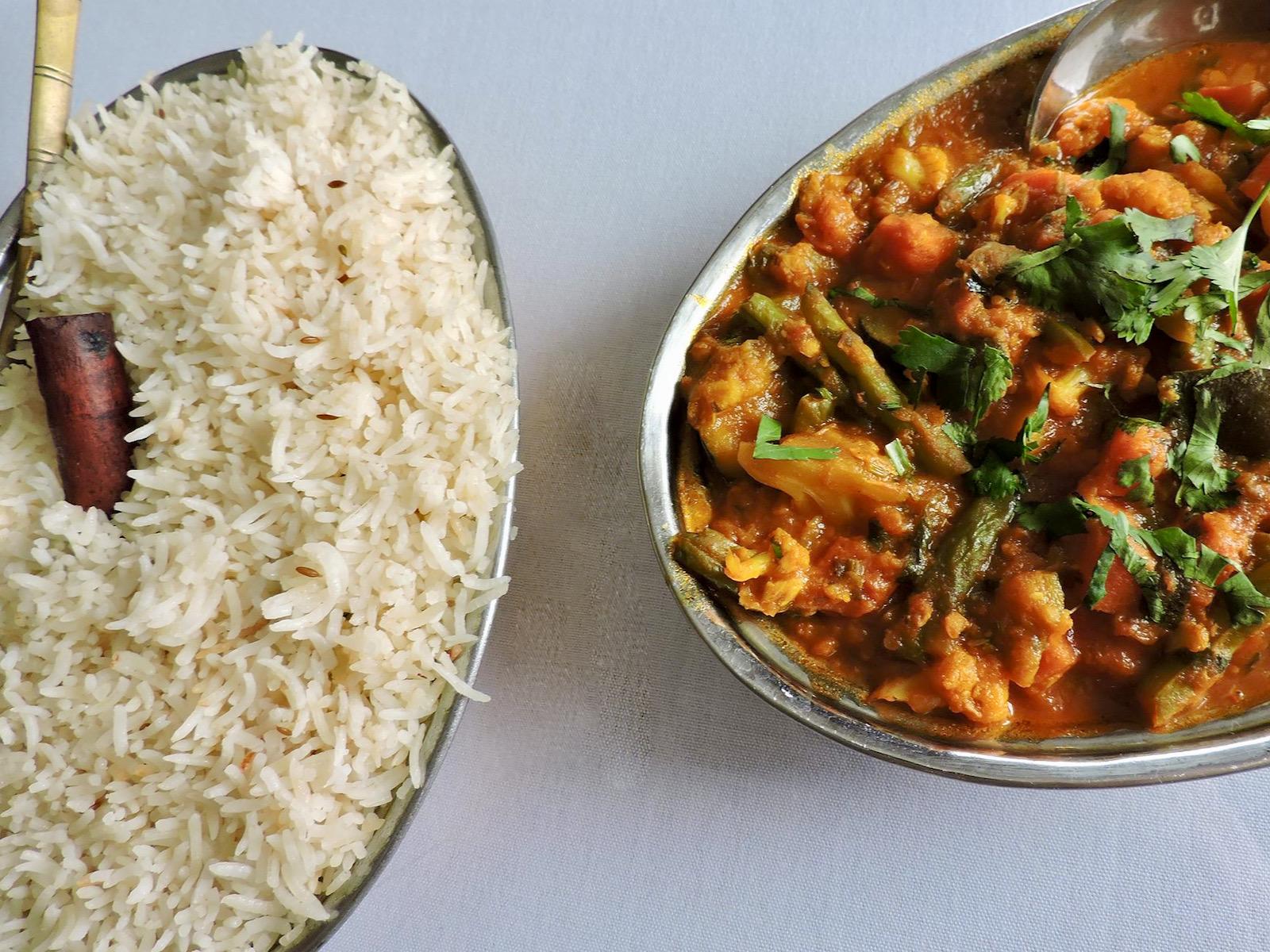 Indian dish and rice at India Garden