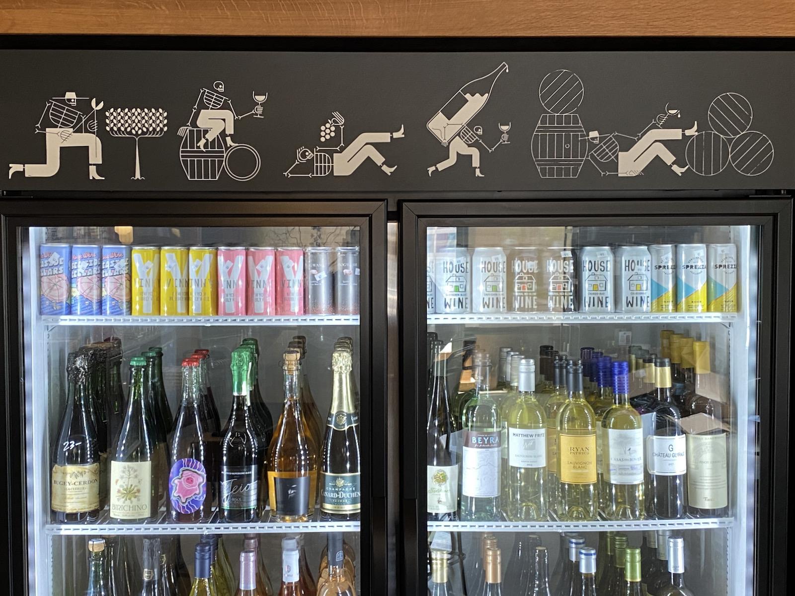 Skeleton brand elements on a wine cooler