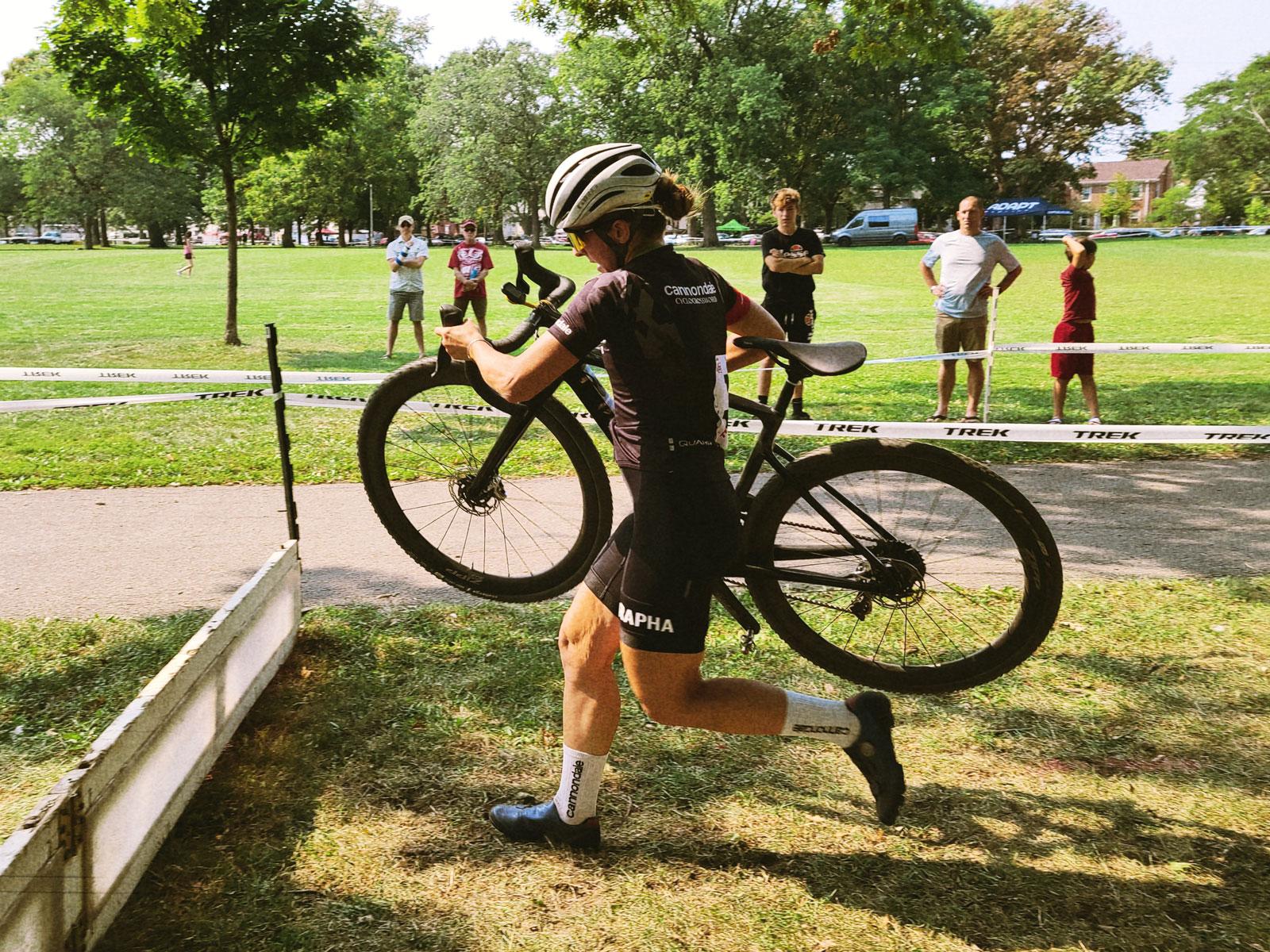 Kaitie Keough approaches a barrier at Cross-Shooshko 2021.