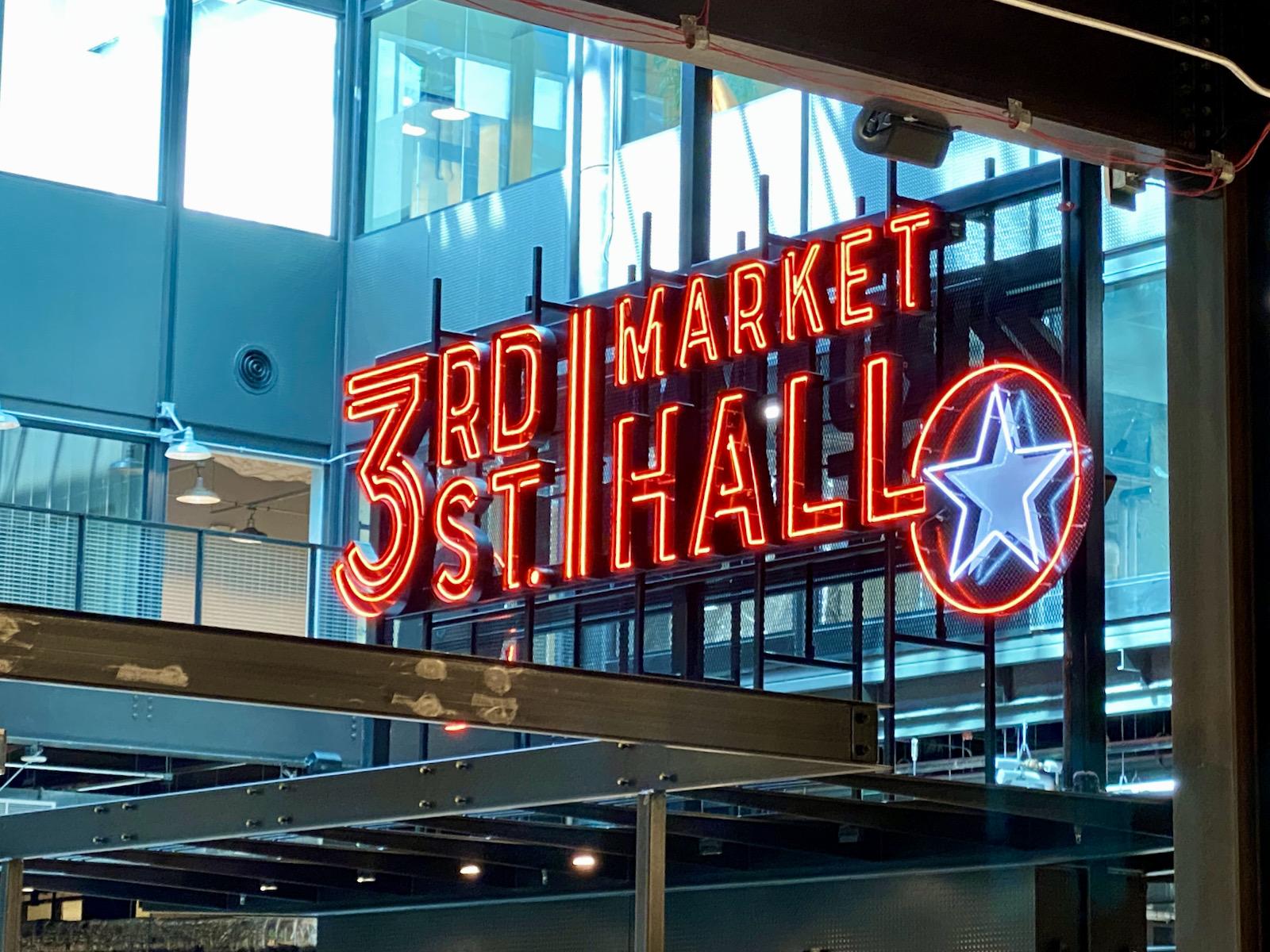 Neon 3rd Street Market Hall sign
