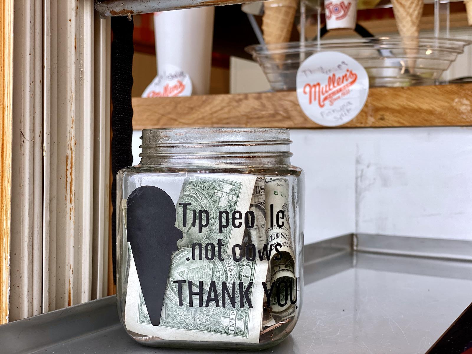 Tip people not cows tip jar