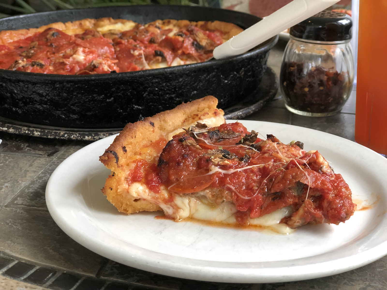 Deep dish pizza from Chuck's Place