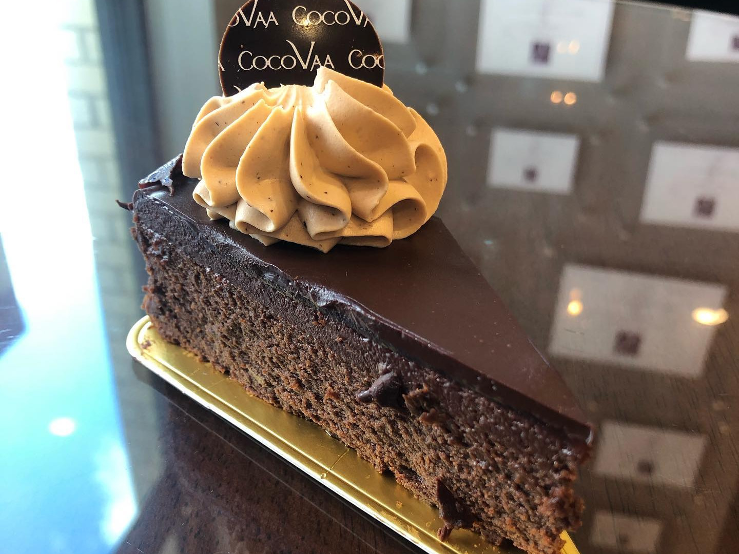 Slice of chocolate cake at CocoVaa Chocolatier