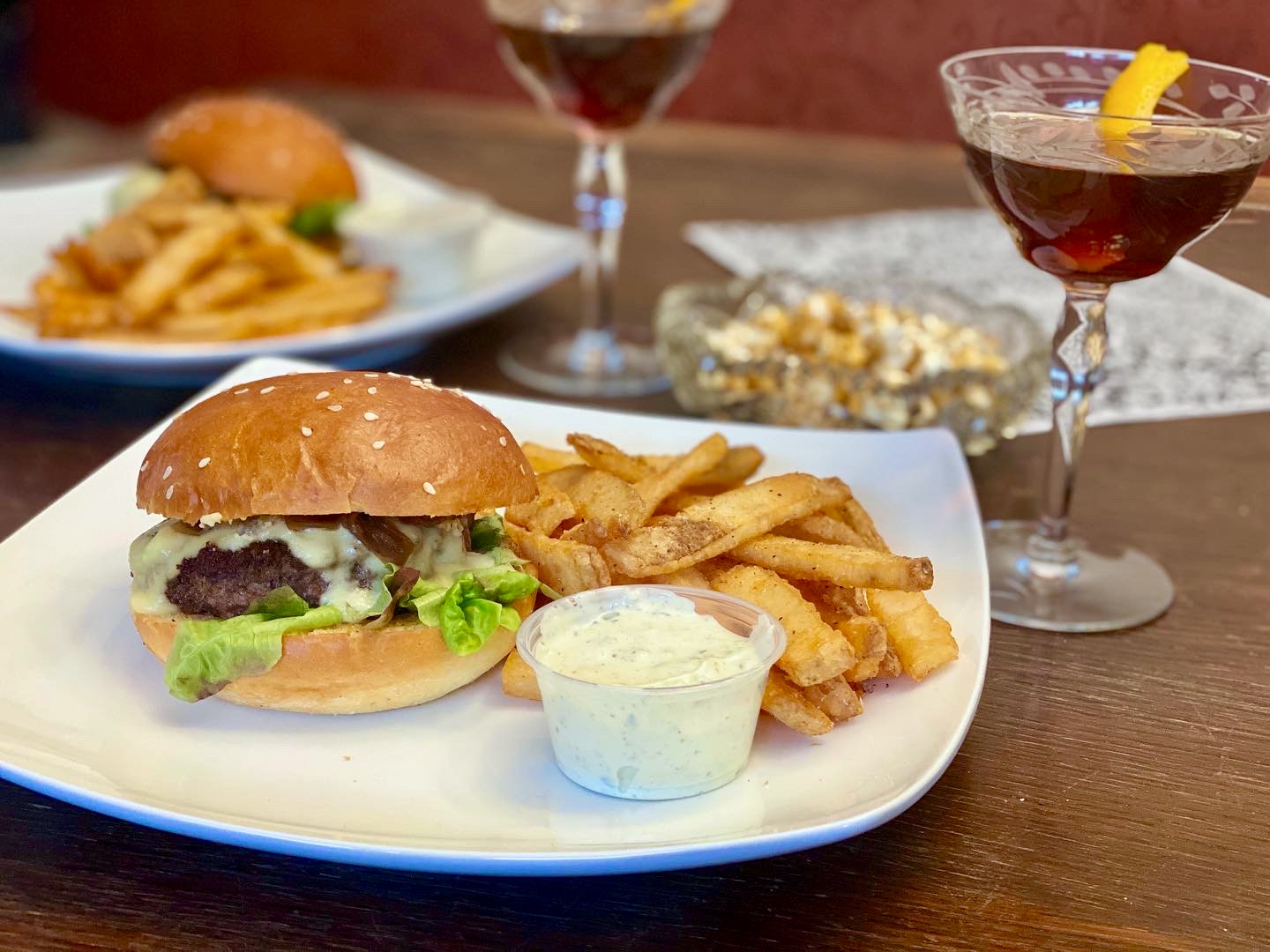 Burger, fries and Manhattan from Goodkind