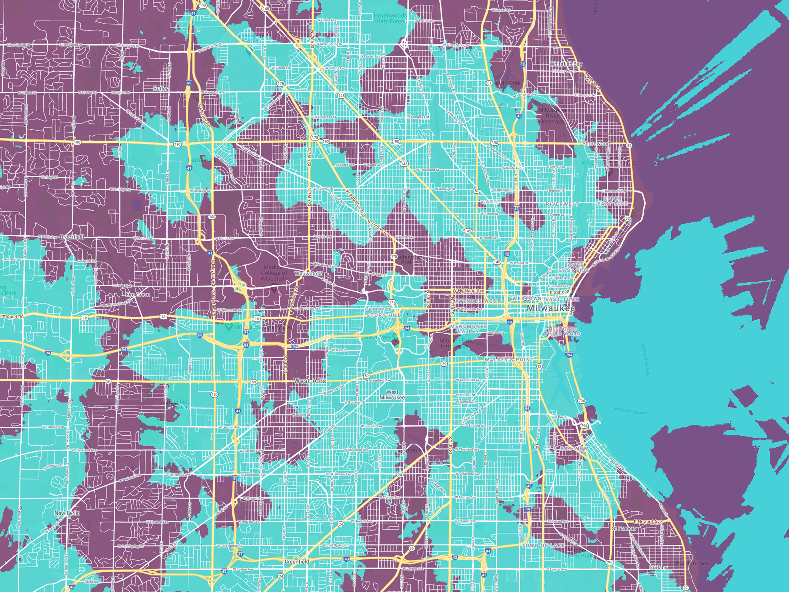 Map showing UScellular's 5G coverage services about half the city.