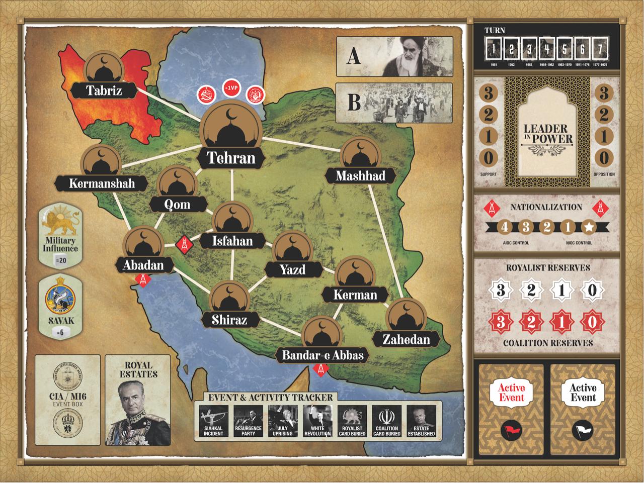 A near-final version of the 1979: Revolution in Iran game board.