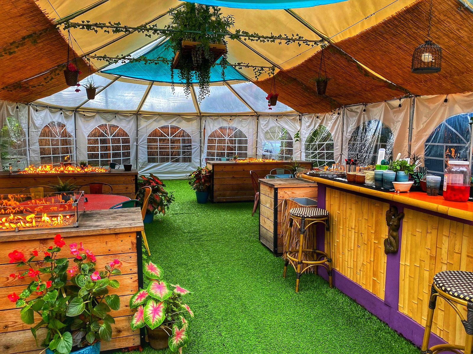 Lost Whale's colorful, enclosed outdoor patio.