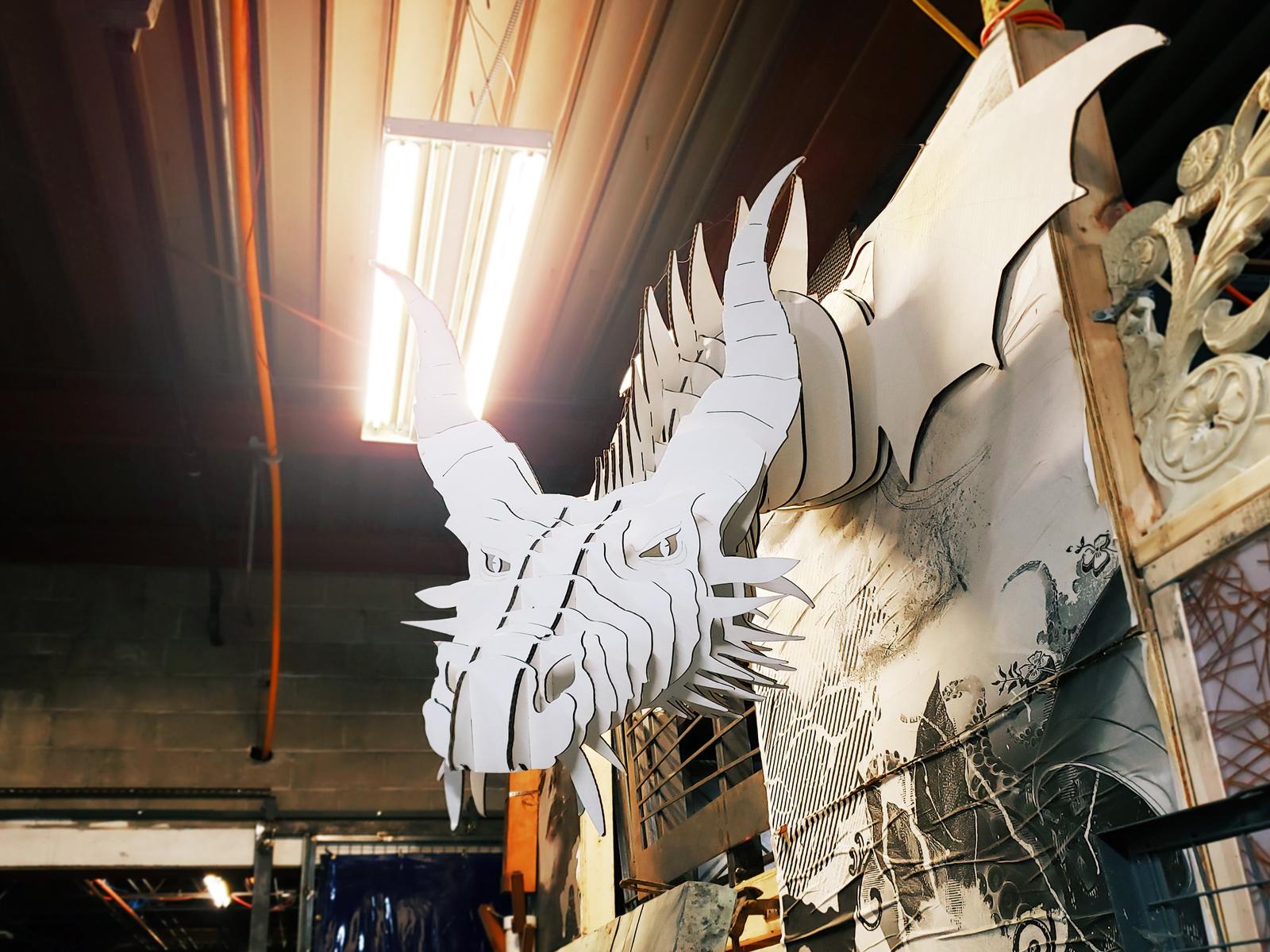 A giant 3D puzzle dragon.