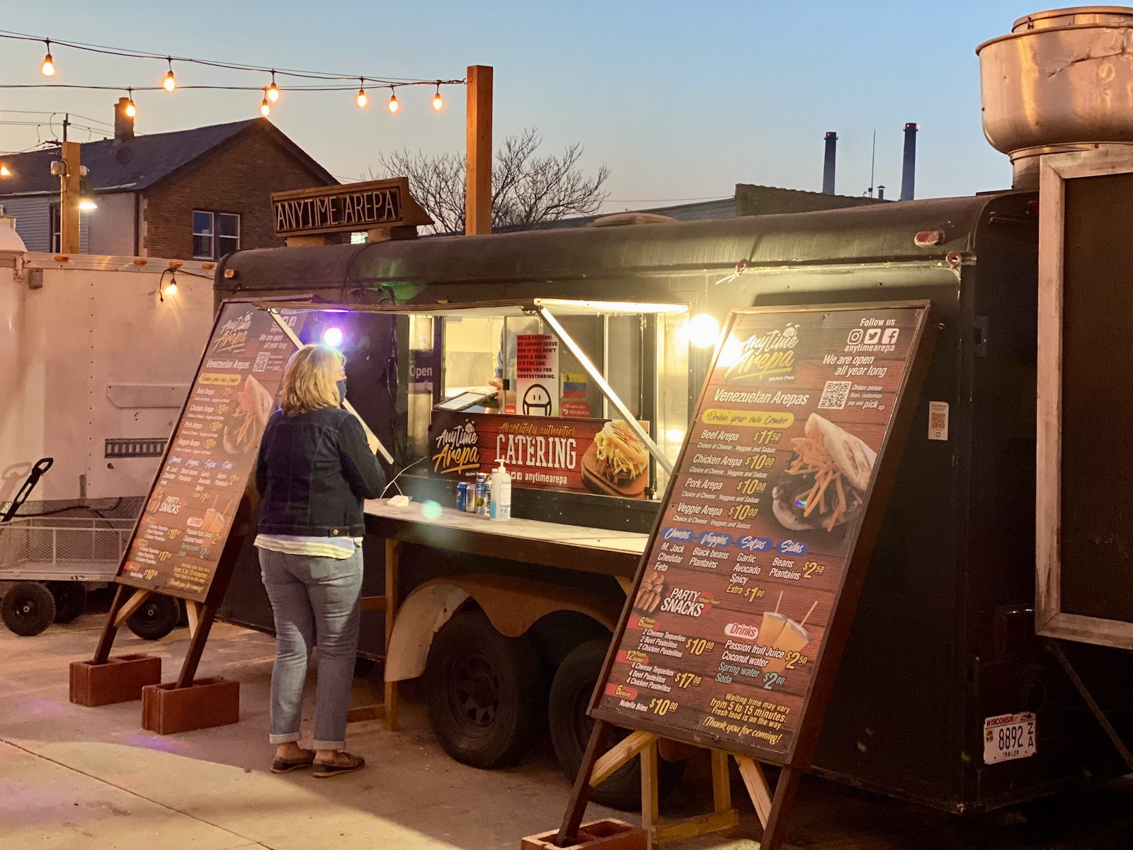 Anytime Arepa trailer at Zocalo Food Park