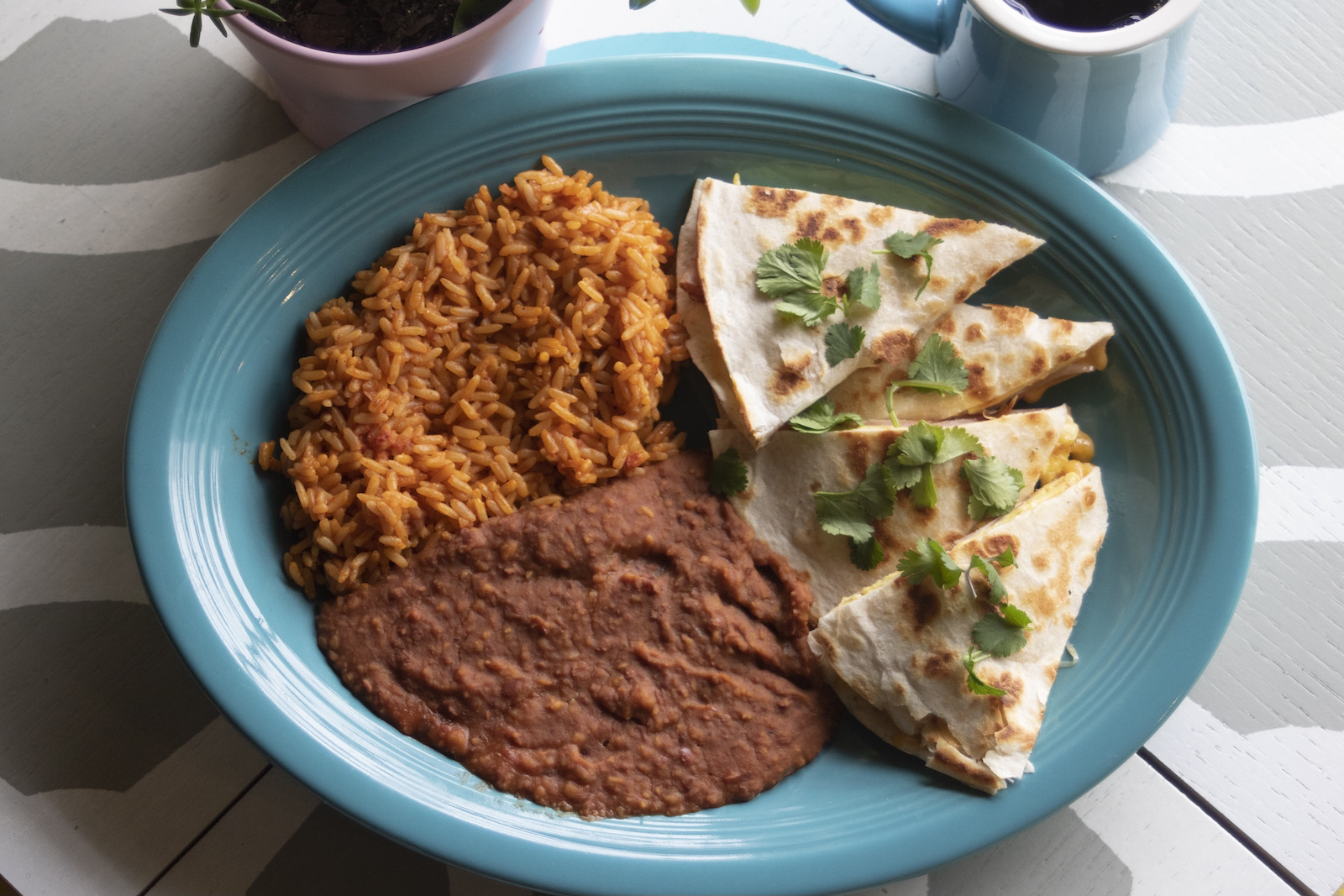 Brunch quesadilla with rice and beans