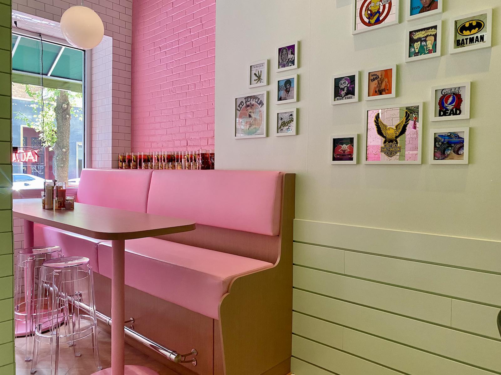 Sleek pink booths