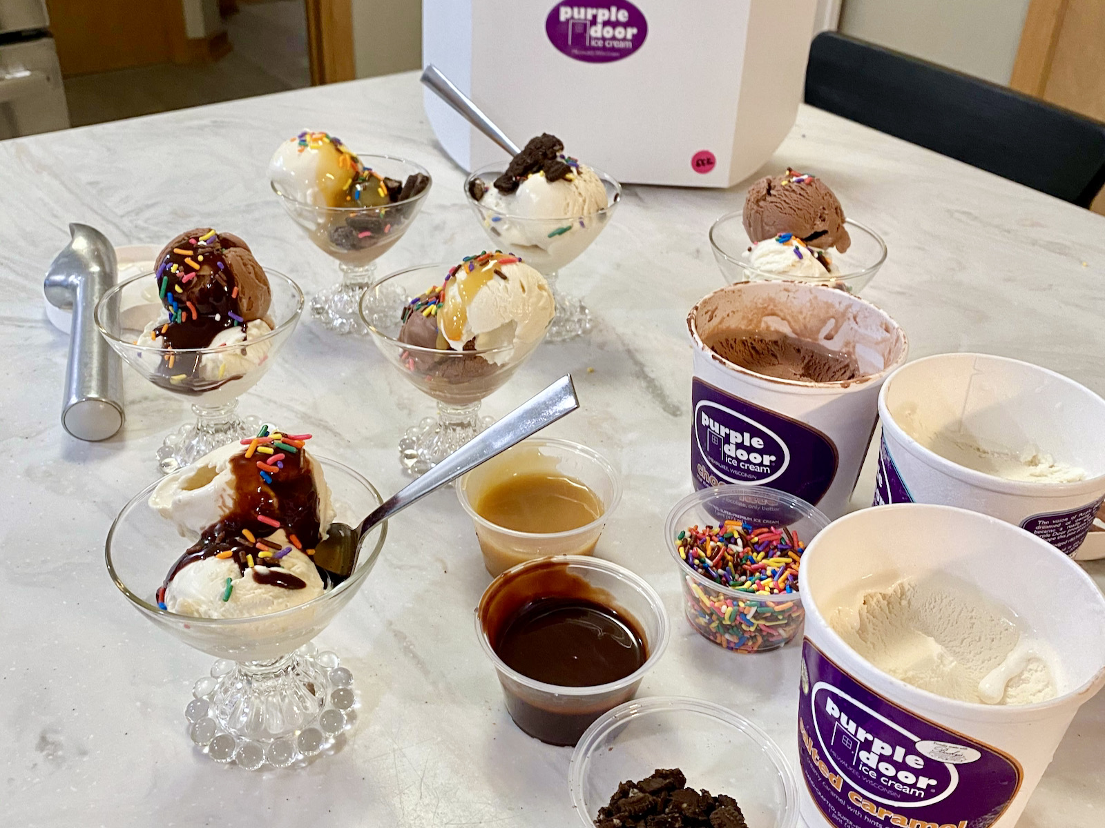 Purple Door Ice Cream sundae survival kit